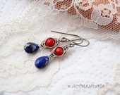 Modern retro -- Red and blue -- 925 sterling silver earrings