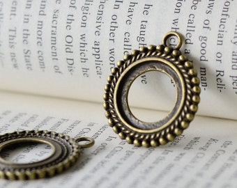 10PCS Antique Bronze/ Antique Silver 20mm Beaded Edged Round Bezel Setting with Ring wholesale Jewelry Findings