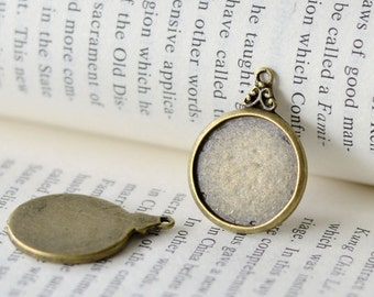 20PCS Antique bronzed 18mm Round Bezel Cup Cabochon/ Cameo Pendant Mountings with ring- AD298
