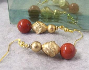 Dangle Earrings, Rust and Gold Bead Earrings, Bargin Earrings, Eco Friendly Earrings