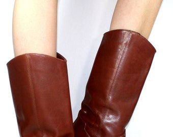 Vintage riding flats women brown woven tall knee high Leather fashion boots pirate 7 M B