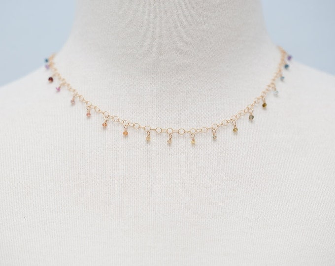 "Tiny Multi-Colored Sapphire Gemstone Necklace, 16"" Gold Necklace with Dangles--Perfect for Layering"