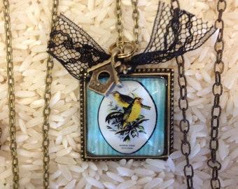 birds necklace lace birdhouse love freedom aqua yellow