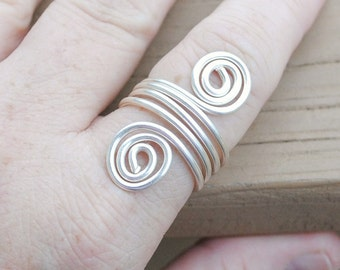 Wire Ring Silver Wrap Around Spirals Non Tarnish Silver Plated Wire