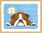 Bulldog Art Print - Nap - Brown and White Bulldog Gifts Dog Pop Art