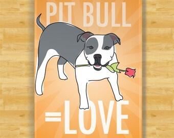 Pit Bull Fridge Magnet - Love - Blue and White Pit Bull Gifts Dog Refrigerator Fridge Magnets I Love You Valentines Day