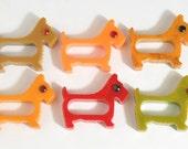 6 Vintage Scottie Dog Bakelite Napkin Rings