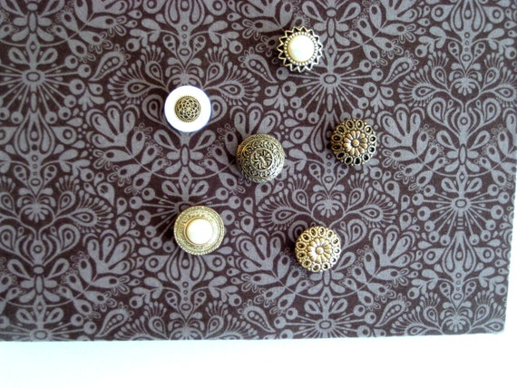 Button Magnets, Black, gold, off white, creamy magnet set, set of six glam stacked button fridge magnets