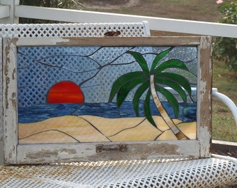 "Stained Glass Mosaic Wooden Window Beach Sunset Palm Repurpose ""Tranquility"""