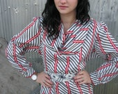 Vintage 1980s Polyester SECRETARY Blouse in Black White and RED