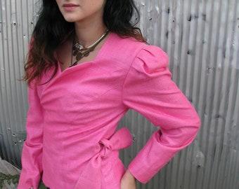 Vintage 1980s DONCASTER Hot Pink Wrap Jacket Blazer