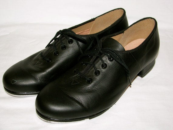 vintage 1990s bloch black leather tap shoes by