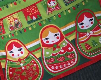 Advent Calendar Christmas Babushka Dolls Wallhanging, Christmas Decoration, Russian Christmas Dolls, Holiday Decor, Girl Christmas Gift