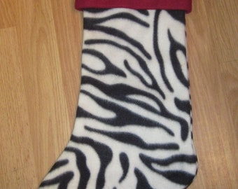 Custom Handmade Zebra Print Holiday Christmas Stocking w/ Maroon Cuff New
