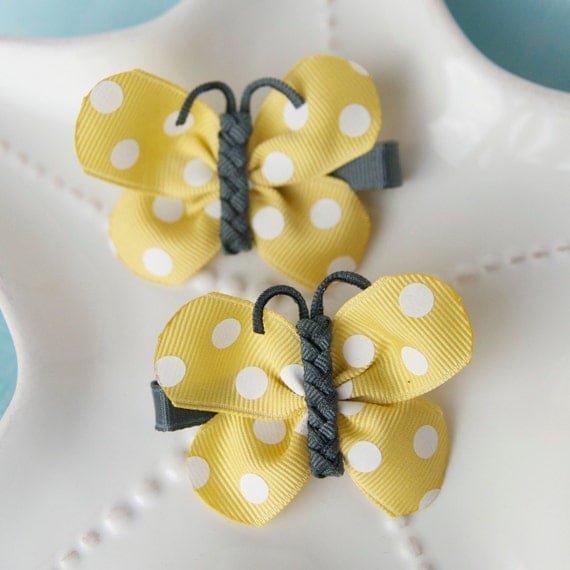 Light Yellow and Charcoal Grey Polka Dot Butterfly Bows
