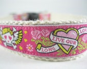Hemp dog collar - Pink Biker Tattoo