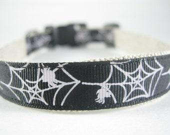 Hemp Dog Collar - Spider Webs - 3/4in
