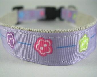 Purple Flowers hemp dog collar - 3/4in