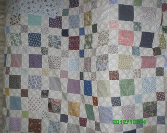 Squares and Squares quilt top, backing and border.  Queen size 92 x 105 inches.