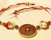 Vintage Bohemian, Vicorian,  Wooden Repurposed Button