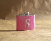 On SALE Hot Pink or ANY Color Sparkly with Rhinestone Initial Girly Gift Stainless Steel 4 ounce Hip Flask KR2D 5970