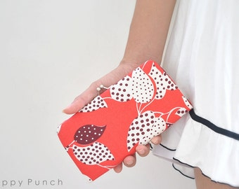 Leaf and Dot in Red - Small flat clutch