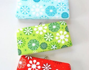Snowflakes- Small Flat  Clutch - Pick your Color / Blue, Green or Red