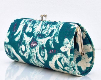 French Harp in Teal - Laura Gunn - Garden Wall Collection ..Small Clutch Purse