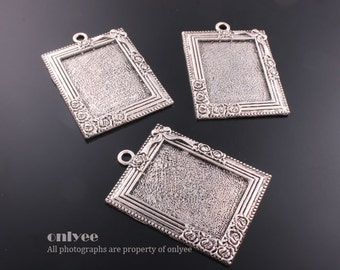 4PCS-56mmX33mmAntique Silver Plated Brass square Frame Pendant tray Settings(E316S)