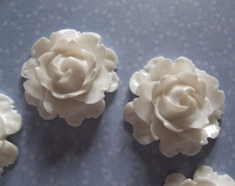 22mm White Rose Cabochons - Flower Cameos - Qty 6