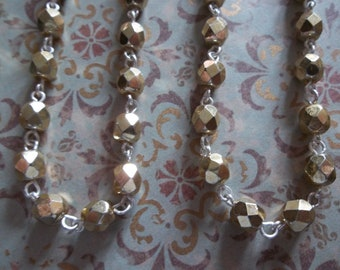 Opaque Shiny Gold 6mm Fire Polished Glass Beads on Silver Beaded Chain - Qty 18 Inch strand