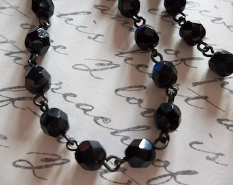 Bead Chain Jet Black 6mm Fire Polished Glass Beads on Jet Black Beaded Chain - Qty 18 Inch strand
