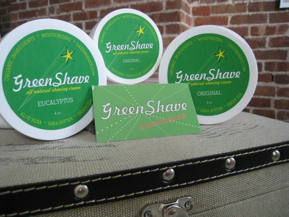 EUCALYPTUS Scented GreenShave - All Natural Shaving Cream with Shea Butter, Aloe Vera & Green Tea
