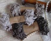 Shabby Wrinkled GREIGE ribbon bundle, 15 yards