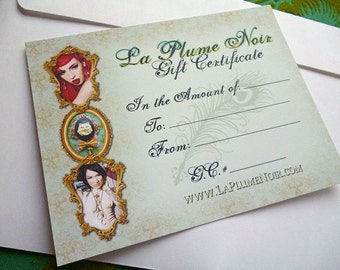 La Plume Noir Exclusive Etsy Store Gift Certificate good for 25 Dollars