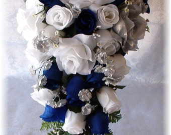 8pc Wedding Bouquet Set Horizon Royal Blue White Silver Silk Flowers Bridal Cascade Roses