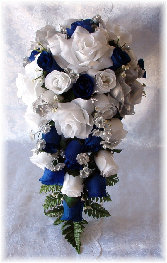 Royal blue horizon wedding bouquet cascade 21pc white silver for Buy black and blue roses