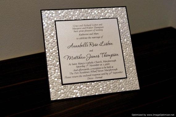 Gold Embossed Wedding Invitations: Items Similar To SAMPLE Black & Ivory / White Pebble