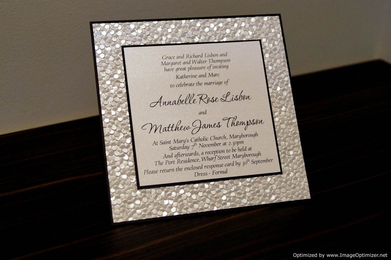 Embossed Card For Wedding Invitations: SAMPLE Black & Ivory / White Pebble Embossed By