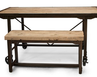 Farmhouse upcycled Oak Dining Table and Bench, Kitchen Table, Urban Restaurant/Bistro table/seating, reclaimed wood, Handmade
