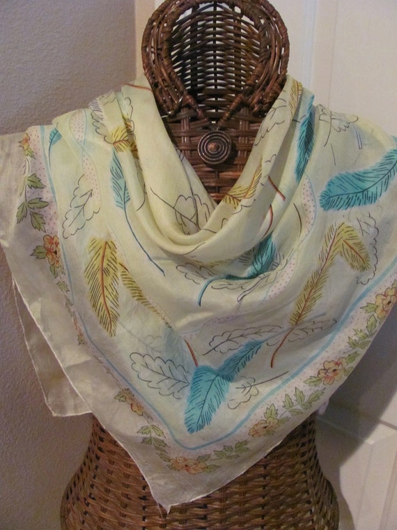 Beautiful Pale Yellow Antique Vintage Silk Scarf - 35 x 35 Square