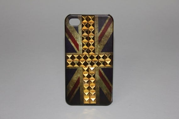 UK Flag iPhone 4 or 4S Case with Gold Studs 009