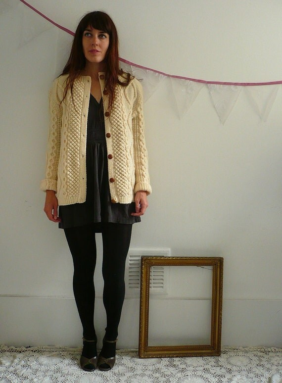 Vintage Hand Knitted Aran & Bobble Slouchy Cardigan One Size
