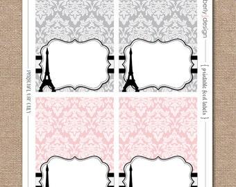 PARIS THEME Baby Shower - Printable Tent Labels - INSTANT Download