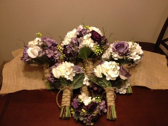 items similar to real touch wedding flower package with eggplant ranunculus lavender roses. Black Bedroom Furniture Sets. Home Design Ideas