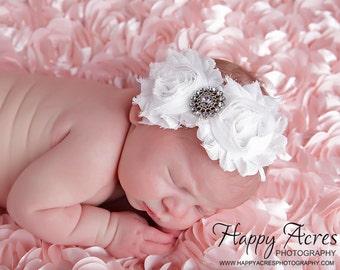 White Shabby Chic headband....rosette headband, newborn headband, baby headband, photography prop