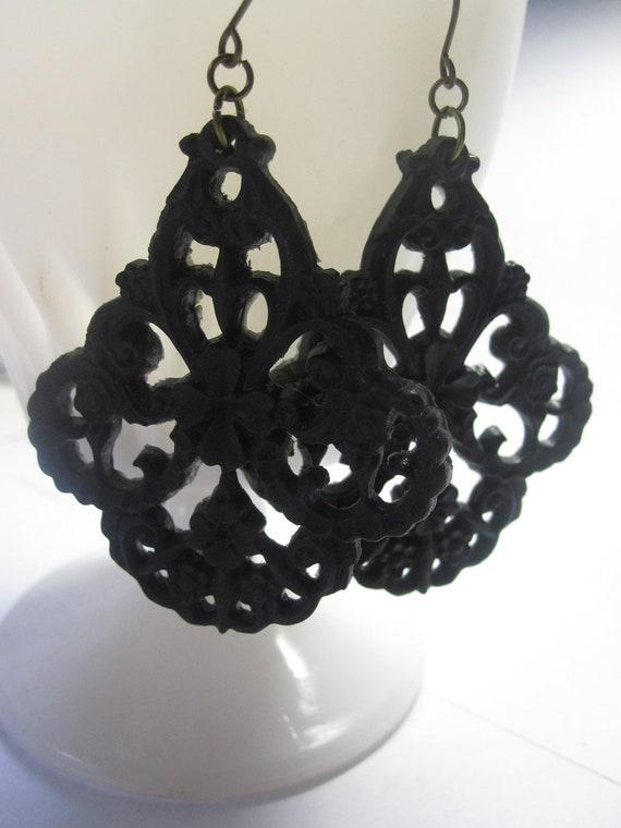 Black Earrings Large Filigree Jewelry Dangle Earrings