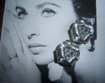 Lisner Signed Silver Tone Ribbon Earrings