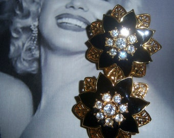 Black Enamel and Chaton Flower Earrings