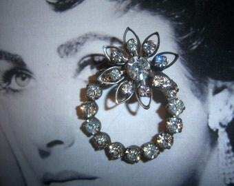 Crystal Circular Flower Pin 1930's